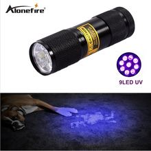 Alonefire High Quality 9LED UV Light 395-400nm LED UV Flashlight torch(China)