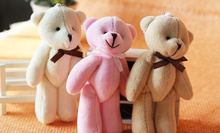 1X Medium 10CM Joint Bowtie Teddy Bear Mix Colors Plush TOY DOLL ; Plush Stuffed TOY Wedding Gift Bouquet Decor DOLL TOY DOLL