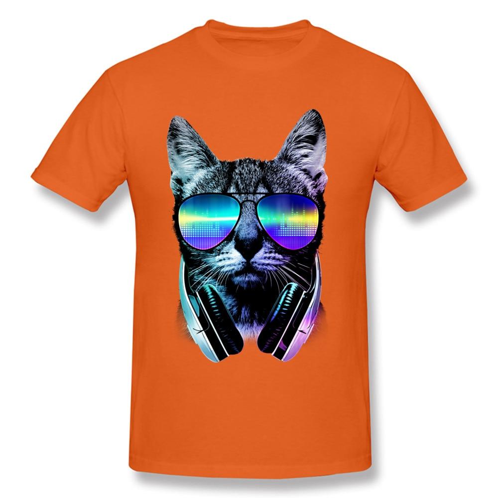 Music Lover Cat Cotton Hip hop Tops Shirt 2018 Hot Sale Short Sleeve Men's T Shirt Normal Summer T Shirts Crewneck Music Lover Cat orange
