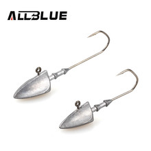 ALLBLUE Exposed Lead Swinbait Jig Head 3.5g 5g 7g 10g 14g Barbed Hook 6pcs/lot Soft Lure Jigging Hook Fishhooks Fishing Tackle