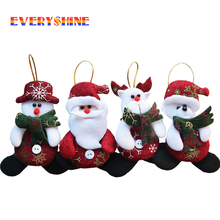 2017 Merry Christmas 4pcs/lot Red Santa Pendant Christmas Tree Hanging Ornaments Crafts for Home Decor Supplier SD206