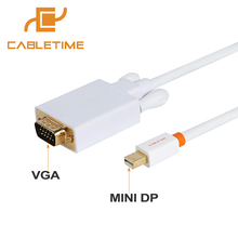Cabletime Mini DP to VGA Mini Displayport to VGA Male Connected for Macbook Air Pro Computer VGA Displays LCD Monitors N015