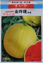 1 Original Packing, 100 Seeds / Pack,Yellow Skin Red Flesh Very Sweet Watermelon 'Jin Ling Long' Organic Seeds