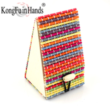Free shipping Hot Sale lovely Multicolor rainbow Bamboo gift box Cute jewelry Case vintage High Quality Display Boxes Wholesale(China)