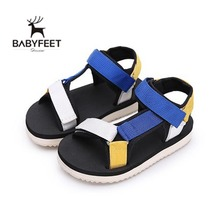 2017 Babyfeet New In Baby Boy Sandals Mixed colors Blue Black Yellow Clogs Soft Sole Infant Toddler Beach Flat Shoes Light