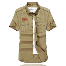 Air force one shirt man Short sleeve shirt men casual cotton shirts Washed clothes khaki train Ventilation Quick drying 25