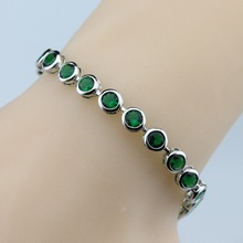 925 Sterling silver Elegant Green Created Emerald Bracelet Health Fashion  Jewelry For Women Free Jewelry Box SL88