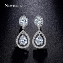 NEWBARK Earings Fashion Jewelry Female Wear Charms Waterdrop Cubic Zirconia Stone Earrings For Women Silver Color Birthday Gift(China)