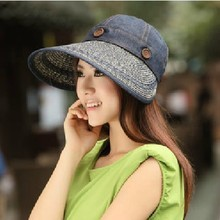 Hat summer women's sun-shading dual hat anti-uv large brim sun hat beach cap strawhat visor hat free shopping(China)