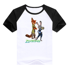 cute tees Cartoondesigned kids clothing hot cartoon Zootopia Judy Hopps Nick Wilde Flash children clothes t shirts(China)