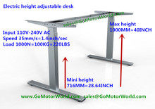 Height adjustable off desk mini height 716mm max height 1000mm 35mm/s speed 110V-240V input 1000N 100KG 220LBS lift