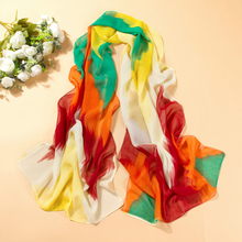 Unique fashion symphony colorful scarves Women's Rainbow Color Gradient Chiffon Soft Long Beach Shawl Wraps Scarf