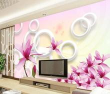 Custom 3D murals,Beautiful fresh 3D circle pink orchid papel de parede,living room sofa TV wall bedroom modern circle wallpaper(China)