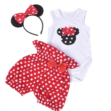 Newborn Cotton Short Sleeve Jumpsuit Kids Suits 0-2Years Romper + Bloomers + headband 3 pcs Baby Brand Clothing Sets 2017 Summer