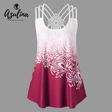 9781b76fce0 AZULINA Strappy Back Plus Size Printed Tank Top Ombre Ethnic Summer Tops  2018 New Causal U Neck Sleeveless Lace Ladies Tops 5XL