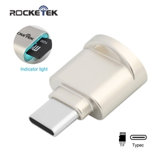 Rocketek typec high quality Aluminum super mini OTG USB 2.0 Type-C card reader Adapter type c TF/Micro SD for mac air/book imac(China)