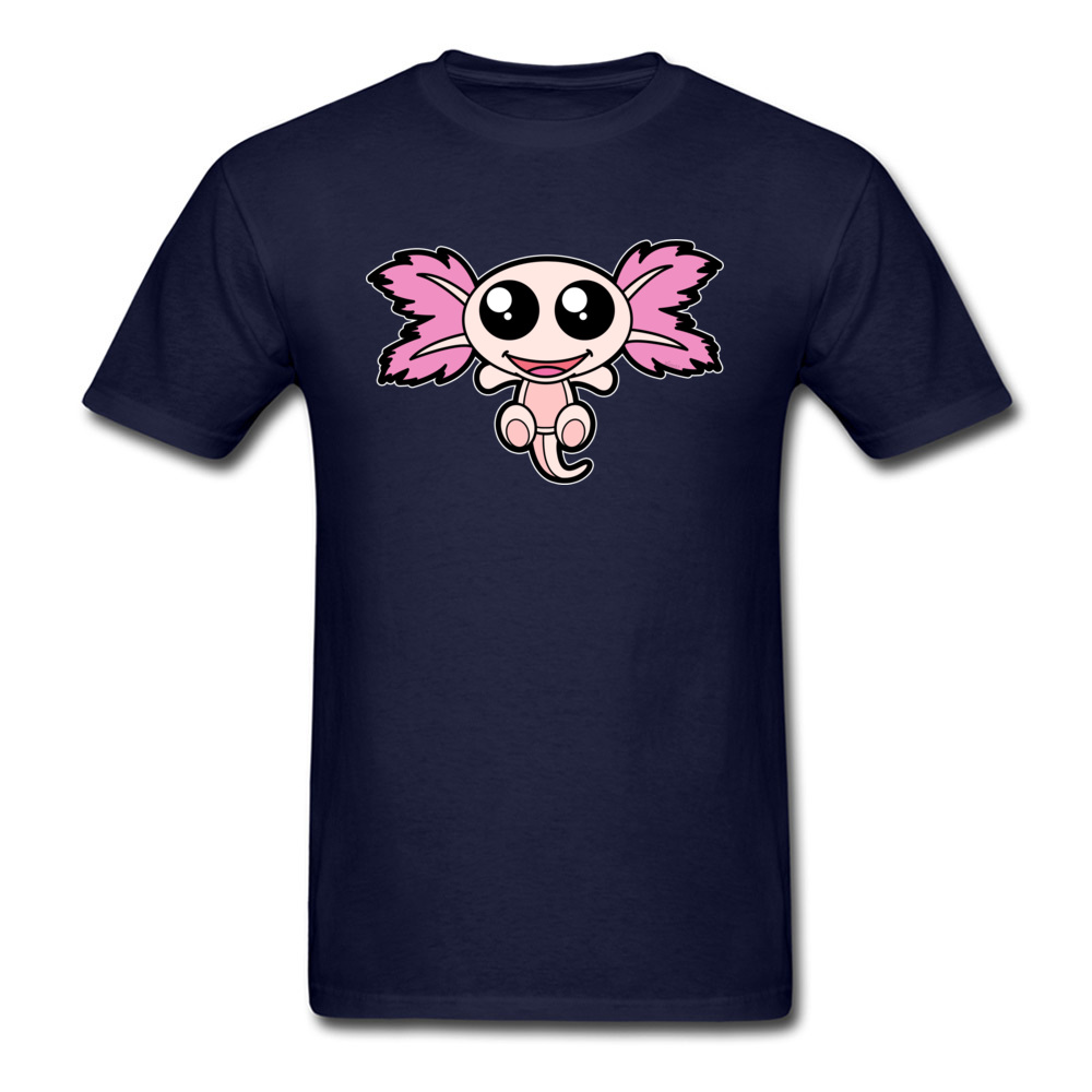 Pinky The Axolotl Casual Short Sleeve Tees Father Day Round Neck 100% Cotton Fabric Boy T Shirt Casual Tee-Shirt Funny Pinky The Axolotl navy