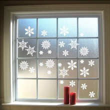 Christmas Stickers Snowflakes Wall Decal Vinyls Hanging Snowflakes Window Door Kitchen Glass Decoration Wall Stickers Home Decor