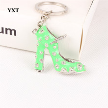 Green High-Heel Shoe Women Girl Crystal Charm Pendant Purse Handbag Car Key Keyring Keychain Creative Delicate Gift(China)