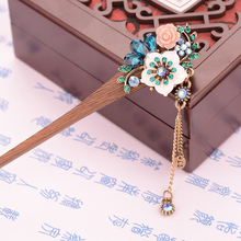 New Fashion Crystal Rhinestone Hair Jewelry Shell Flower Wooden Hair Sticks Chinese Bridal Wedding Hair Accessories