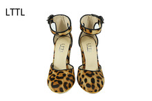 LTTL Sexy Leopard Print Women Pumps Round Toe Chunky Heels Fashion Party Pumps Summer Buckle Strap Genuine Leather Woman Shoes(China)