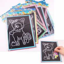 5pcs Child Kids Magic Scratch Art Doodle Pad Painting Card Educational Game Toys Early Learning Drawing Toys two size WYQ(China)
