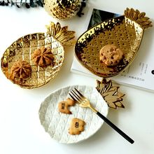 Nordic plated ceramic golden pineapple plate jewelry plate breakfast dried fruit small decorative swing plate(China)