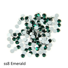 Hot Size,SS8(2.3-2.5mm) 1440pcs Nail Art Crystal Emerald Common Non Hotfix Flatback Rhinestone. Diamond For Dress