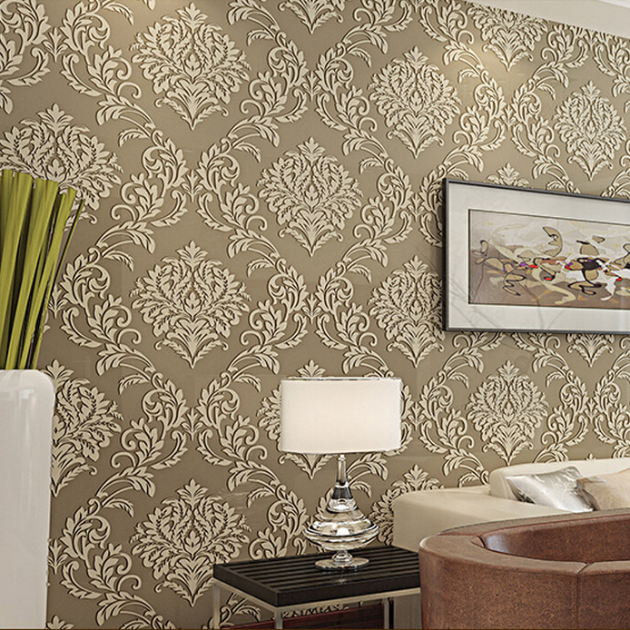 classical damask fabric wallpaper with coffee,grey,beige and sky blue four coloring roll wallpaper 10m free shipping<br>