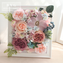 Pink flower suit wall decoration wall decorated desktop decoration photo frame restaurant sample room decoration painting frame