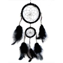 Handmade Black Dream Catcher Circular Net With Feathers Wall Hanging Decoration Ornament
