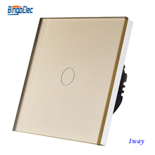 1gang 1way toughened glass panel touch light switch EU/UK standard AC110-250V,CE marks.(China)