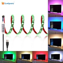Lumiparty Free shipping 5V USB Cable LED strip light lamp SMD5050 2m Christmas Flexible led Stripe Lights TV Background Lighting