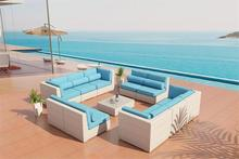 Factory direct sale promotion all weather cheap loveseat modern pe rattan sleeper sofas(China)