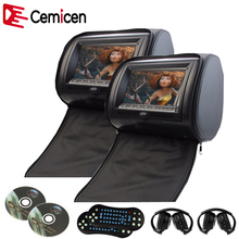 Cemicen 2PCS 7 Inch Car Headrest DVD Player Monitor Digital Screen with USB/SD/IR/FM Transmitter/Speaker/Game Remote Control(China)