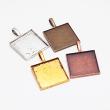 20pcs/lot 25mm Square Cabochon Pendant Setting Vintage Metal Zinc Alloy Trendy Pendant Tray Jewelry Charms 6521(China)