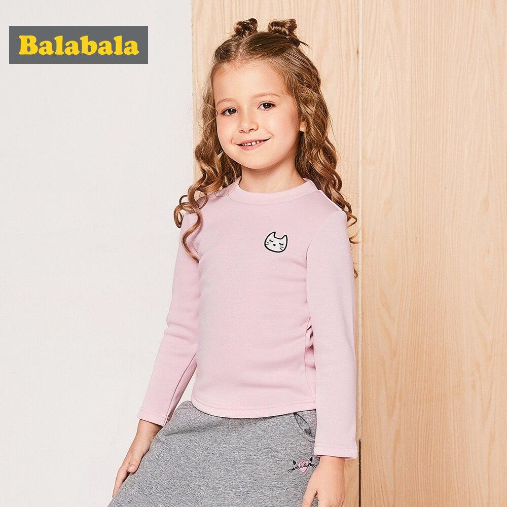 75acc0b86d4 Children Girls Long-Sleeved T-shirts Childs 2018 Autumn Winter Plus Velvet  Thickening Shirt