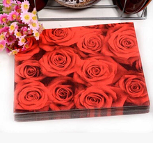 NP105, 3 packs 60pcs Wedding red Rose Napkin Paper 100% Virgin Wood Tissue for Party Wedding Decoration