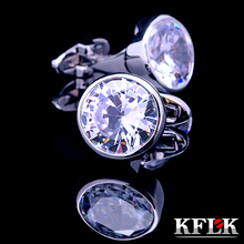 KFLK Luxury 2017 shirt cufflinks for mens Brand cuff buttons White Crystal cuff links High Quality Silver abotoaduras Jewelry(China)