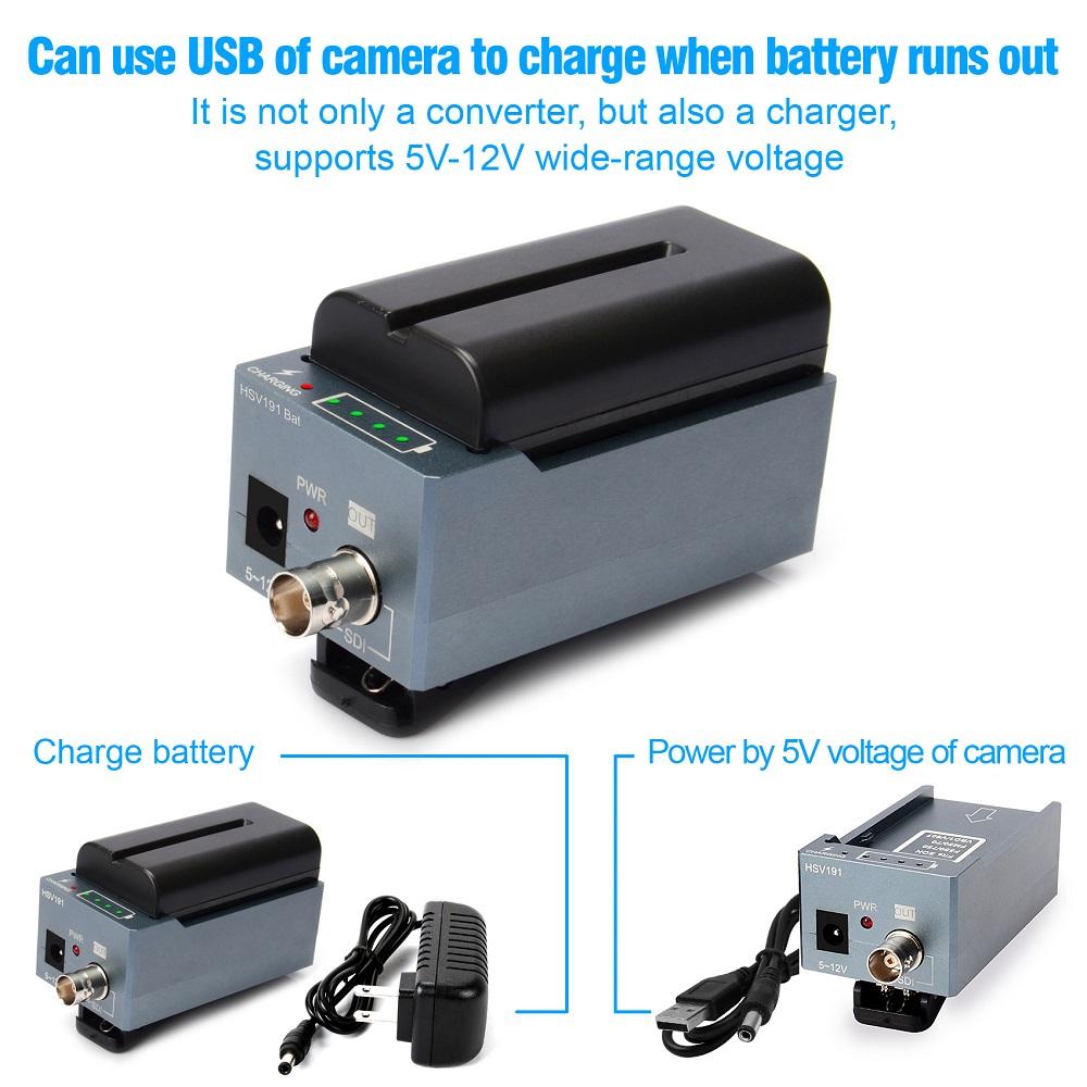 HSV191Bat HDMI to SDI Converter with Battery Charging 1080p Mini HDMI to SD-SDI HD-SDI 3G-SDI Adapter Converter (10)