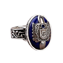 Vintage Vampire Diaries Rings Salvatore Stefan 's Finger Family Crest Ring Lapis Lazuli Ellipse Costume Ring(China)