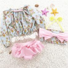 wholesale top market 3pcs set 2016 Korean flora baby girl swimwear long sleeve lace flower bikini with bows+sun protective suit