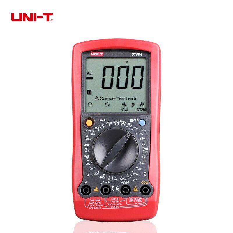UNI-T UT58A 2000 counts LCD Digital Multimeter Volt Amp Ohm Temp Capacitance Tester<br>