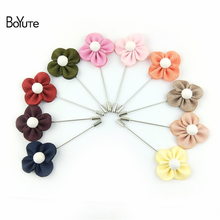 BoYuTe 10Pcs Fashion Brooch Clover for Men Suit Lapel Pin Handmade Fabric Brooch Wedding Brooch Bouquet(China)
