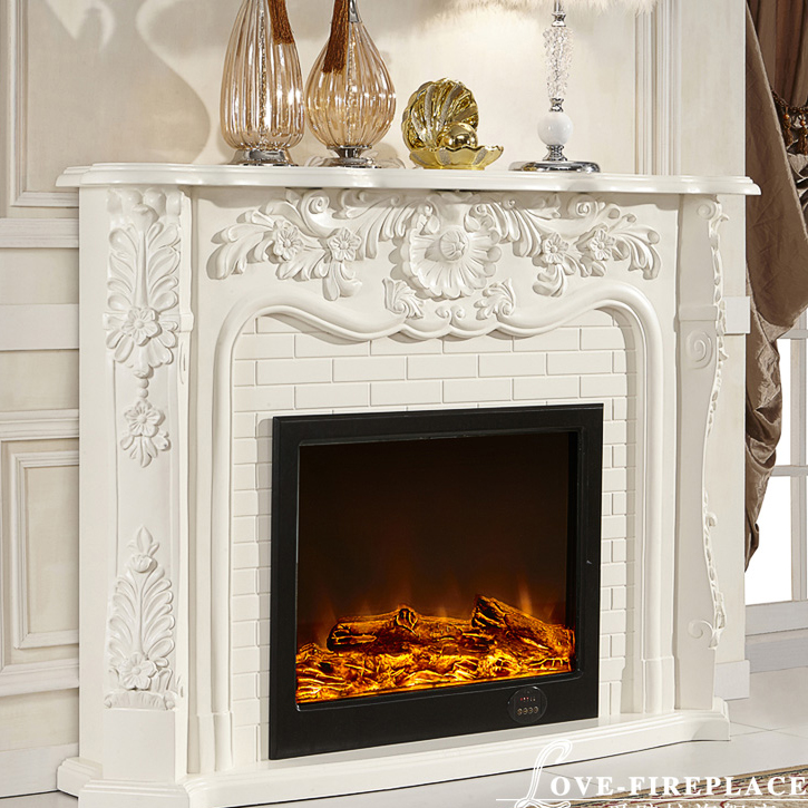 Clic French Style Fireplace Wooden Mantel W150cm With Electric Insert Led Artificial Optical Flame Decoration In Fireplaces From Home
