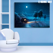 Art Print Stretched LED Canvas Print Small Village of Night LED Interstellar Print One Pcs(China)