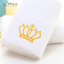 LFH White Towel Hotel cotton spiral satin embroidery long cotton wool towel gold crown for family towel stock(China)