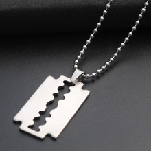 New Razor Blade Necklace Men Jewelry Trendy Stainless Steel Razor Pendant Necklace Valentines Gift For Men 2016 Fashion