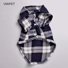 VMIPET Classic Plaid Dog Clothes Pet Shirt Spring Summer Gentle Dogs Costume Puppy T-Shirt Cat Clothing Small Dogs Teddy DCK031