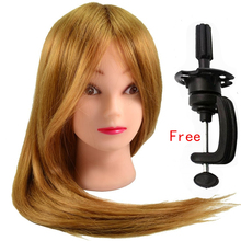 Long Brown Hair Hairdressing Training Doll Head Practice Head Mannequin High Temperature Fiber Salon Model + Table Clamp